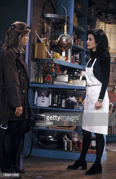 FRIENDS The One With the Stoned Guy Episode 15 Pictured Jennifer Aniston as Rachel Green Courteney Cox as Monica Geller Photo by Paul Drinkwater/NBCU...