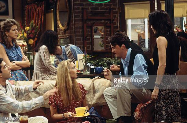 FRIENDS The One With the Thumb Episode 3 Pictured David Schwimmer as Ross Geller Jennifer Aniston as Rachel Green Lisa Kudrow as Phoebe Buffay...