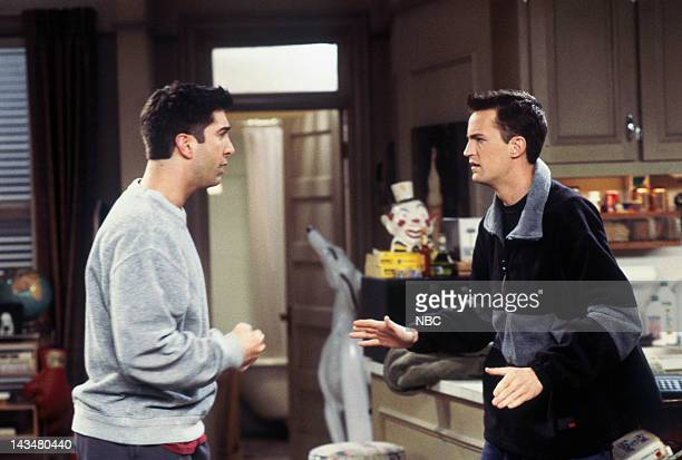 """The One with the Tiny T-Shirt"""" Episode 19 -- Pictured: David Schwimmer as Ross Geller, Matthew Perry as Chandler Bing"""