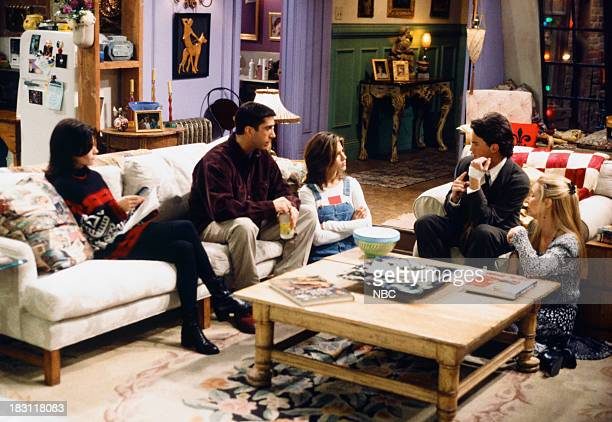 FRIENDS 'The One With Two Parts Part 1' Episode 116 Pictured Courteney Cox as Monica Geller David Schwimmer as Ross Geller Jennifer Aniston as Rachel...