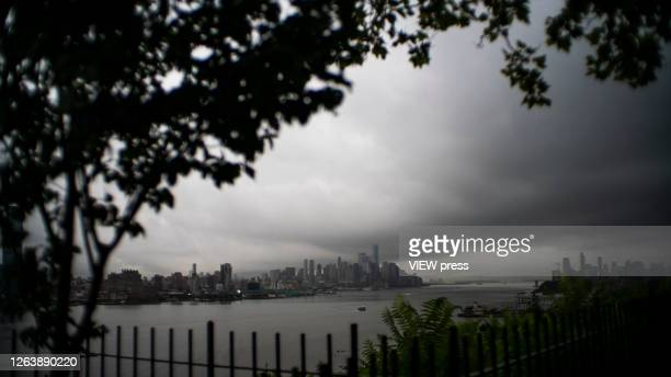 The One World Trade Center and lower Manhattan are pictured as the city gets ready for tropical storm Isaias on August 4 2020 in New York City The...