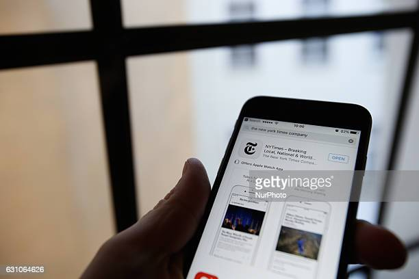 The online version of the New York Times in Chinese language is seen on a mobile phone in Bydgoszcz Poland on 7 January 2017