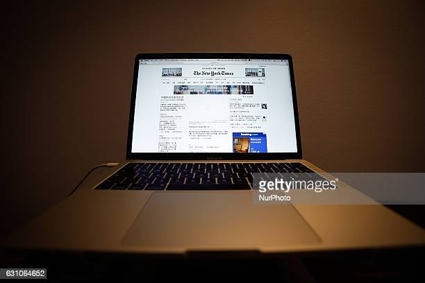 The online version of the New York Times in Chinese language is seen on a laptop in Bydgoszcz Poland on 7 January 2017