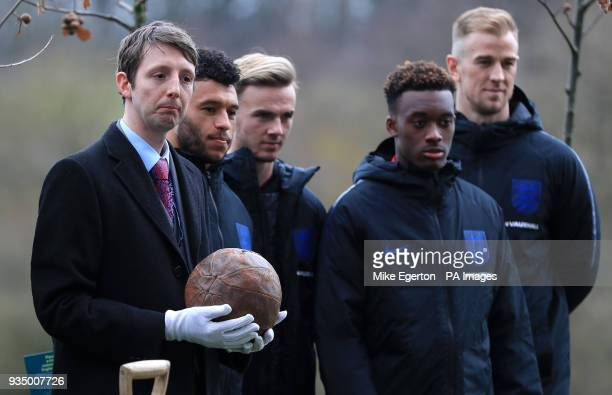 The only known surviving Somme football the ball 'kicked over the top' from The National Football Museum during the media day at St George's Park...