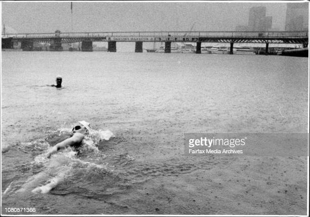 The only person in Sydney not fussed about the rain Susan Maroney 16 Marathon swimmer training at darling harbour for an attempt to swim the English...