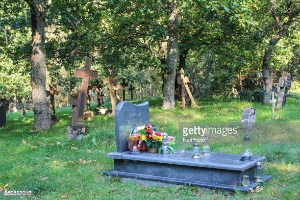 The only preserved cemetery Slavic population founded in the 18th century recognized as a historical site and included in the museum in Kluki is seen...