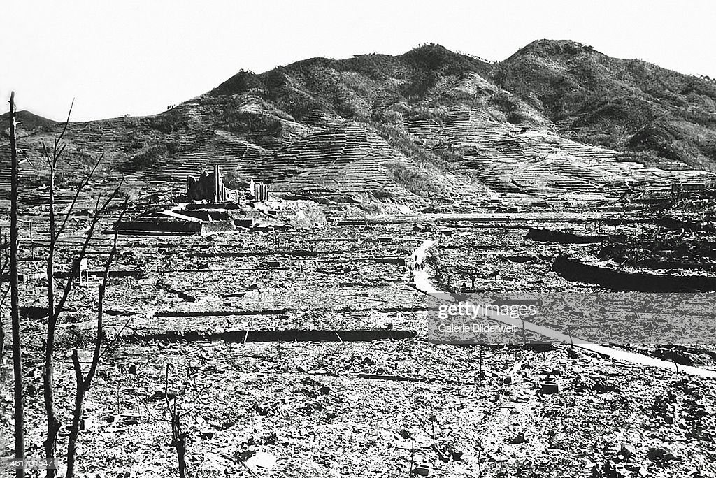 The only recognizable structure remaining is a ruined Roman Catholic Cathedral in the background on a destroyed hill. August 1945. On 9th August an atomic bomb had been dropped on the city by the United States Army Air Forces. Nagasaki, Japan.