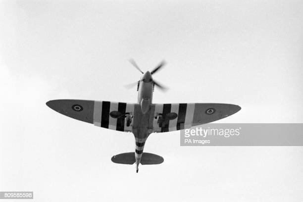 The only remaining Mark 9 Spitfire with a full airworthiness certificate during rehearsal for a flying display over Knebworth House
