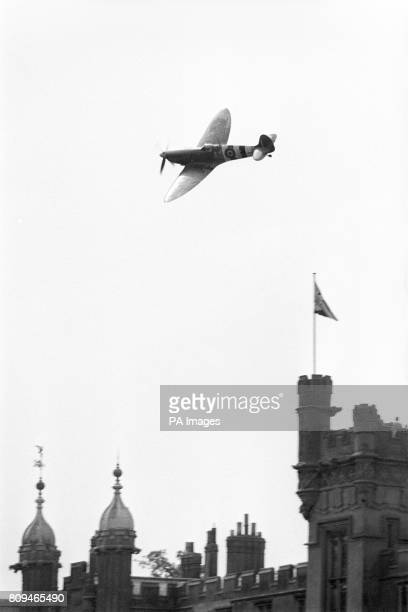 The only remaining Mark 9 Spitfire with a full airworthiness certificate wheels over Knebworth House during rehearsal for a flying display