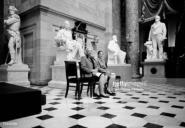The only two female Justices of the U.S. Supreme Court, Sandra Day O'Connor and Ruth Bader Ginsburg, pose for a portrait in Statuary Hall March 28,...