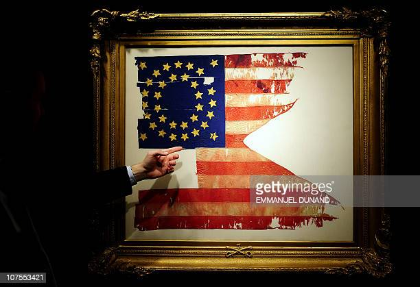 """The only US flag not captured or lost during George Armstrong Custer's """"Last Stand"""" at the Battle of Little Big Horn is on display at Sotheby's prior..."""