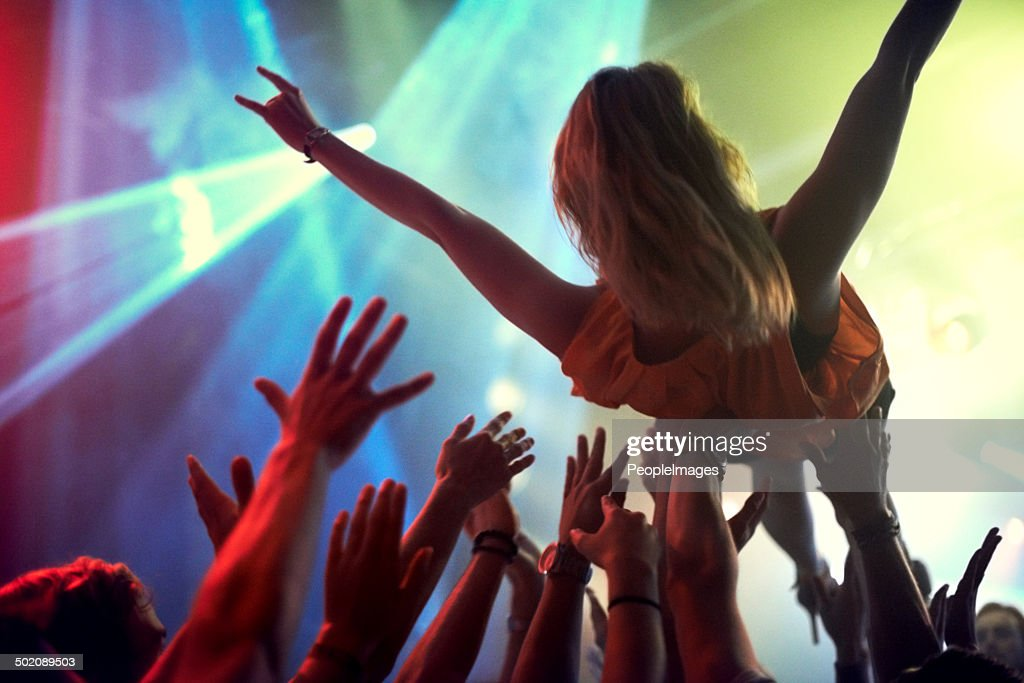 The only way to feel at one with an audience : Stock Photo