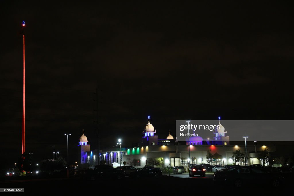 The Ontario Khalsa Darbar illuminated during Gurpurab on November 04 2017 in Mississauga Ontario Canada Guru Nanak Gurpurab also known as Guru...