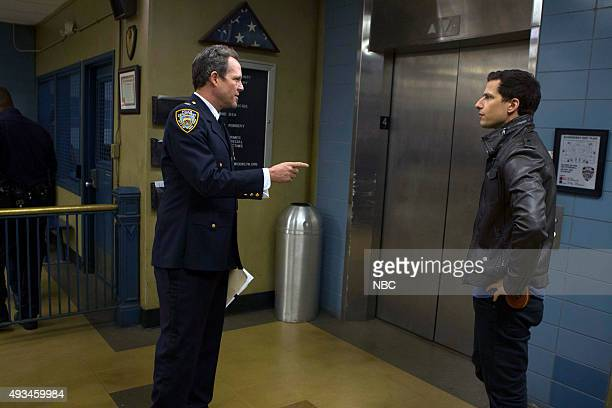 NINE The Oolong Slayer Episode 303 Pictured Dean Winters as The Vulture Andy Samberg as Jake Peralta