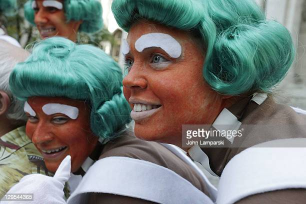 The Oompa Loompas hand out Golden Tickets for the 40th Anniversary of Willy Wonka The Chocolate Factory event on October 18 2011 in New York City