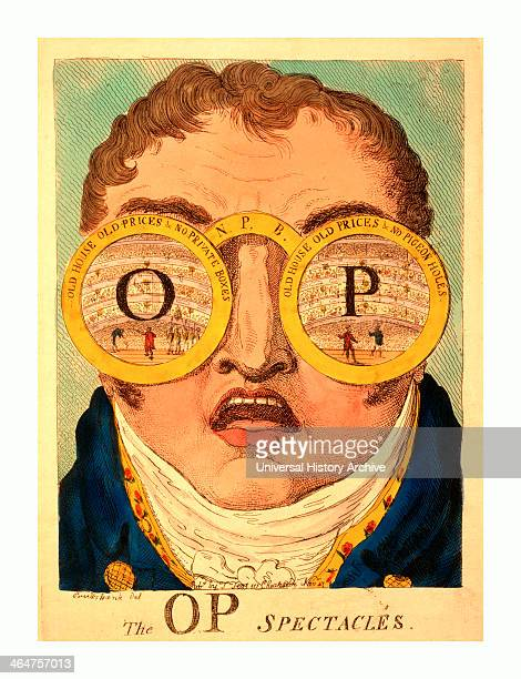 The Op Spectacles Cruikshank George 17921878 Artist Engraving 1809 Satire Showing Head Of Clifford With Two Circles Representing Huge Spectacles Old...