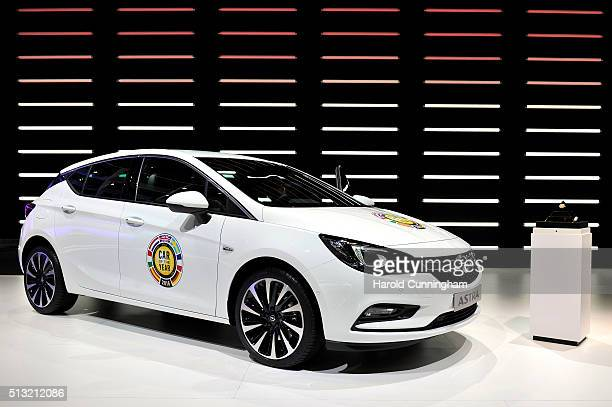 The Opel Astra car of the year 2016 is displayed during the Geneva Motor Show 2016 on March 1 2016 in Geneva Switzerland The 86th International auto...