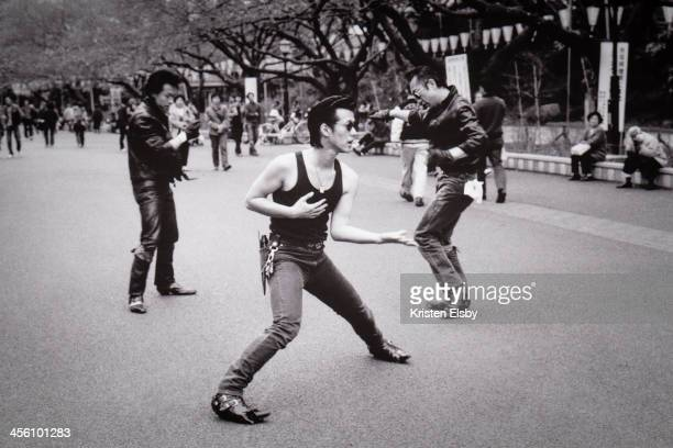 CONTENT] The open boulevards in Ueno Park attract small groups of Japanese rockers dressed in leather and wearing quiff hairstyles who like to dance...