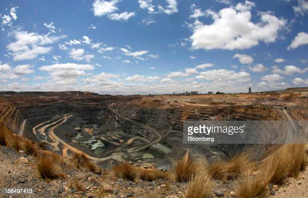 The open cast diamond mining pit is seen from the perimeter at Jwaneng mine operated by the Debswana Diamond Co a joint venture between De Beers and...
