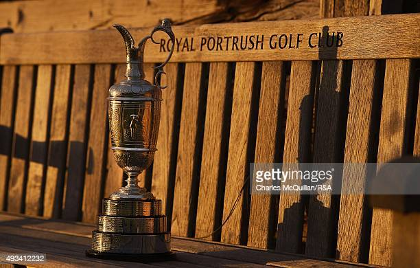 The Open Championship Claret Jug sits near the 6th tee box at Royal Portrush Golf Club on October 20, 2015 in Portrush, Northern Ireland.