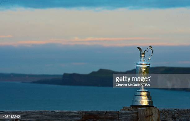 The Open Championship Claret Jug sits near the 6th tee box at Royal Portrush Golf Club on October 20 2015 in Portrush Northern Ireland