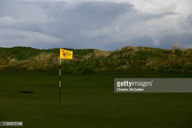 The Open championship flags make their debut at Royal Portrush Golf Club during a media event on April 2, 2019 in Portrush, Northern Ireland. The...