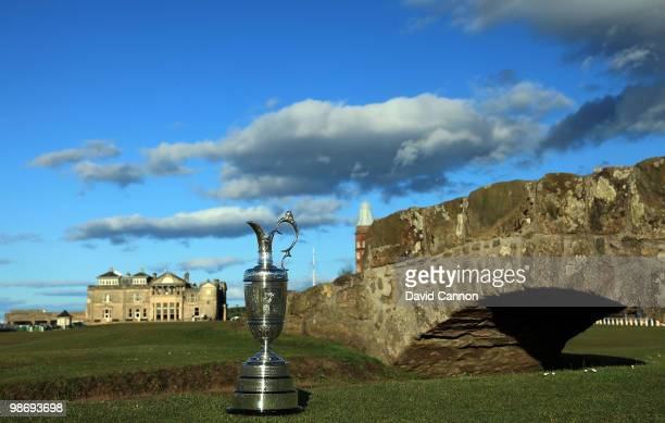 The Open Championship Trophy beside the Swilcan Bridge with the the RA Clubhouse behind as a preview for the 2010 Open Championship to be held on the...