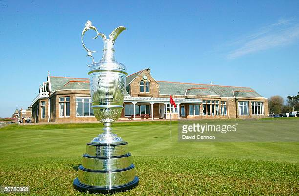 The Open Championship trophy is displaed on the 18th green prior to the Royal and Ancient Golf Club of St Andrews pre Open Championship press...