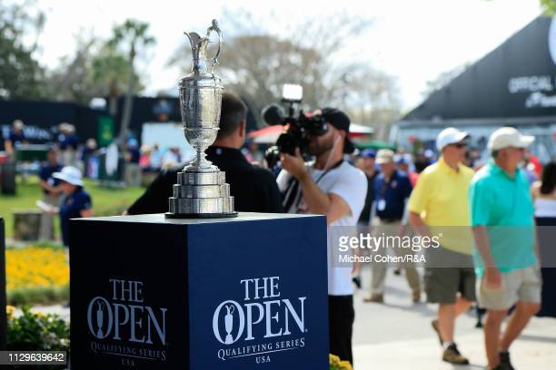 The Open Championship trophy is seen on display during The Open Qualifying Series part of the Arnold Palmer Invitational at Bay Hill Club and Lodge...