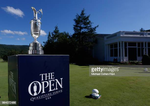 The Open Championship trophy is seen on the first hole tee box during the fourth and final round of A Military Tribute At The Greenbrier held on The...