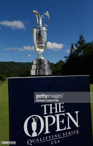 The Open Championship Trophy is seen on the first tee during the fourth and final round of A Military Tribute At The Greenbrier held on The Old White...