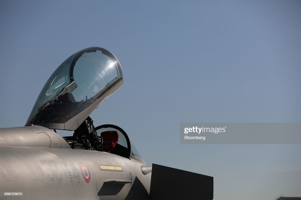 The open cockpit canopy of a Eurofighter Typhoon fighter jet