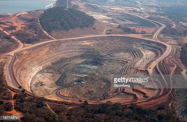 The open pits of the Mutanda copper mine are seen in this aerial view in Katanga province Democratic Republic of Congo on Wednesday Aug 1 2012...
