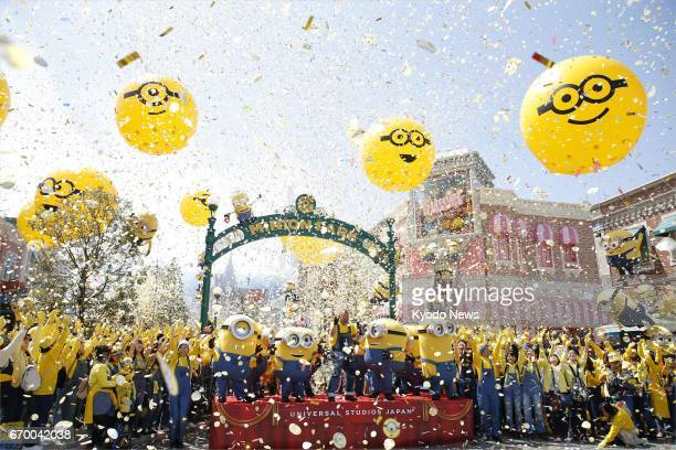 The opening ceremony is held for Minion Park at Universal Studios Japan in Osaka on April 19 two days before the opening of the attraction based on...