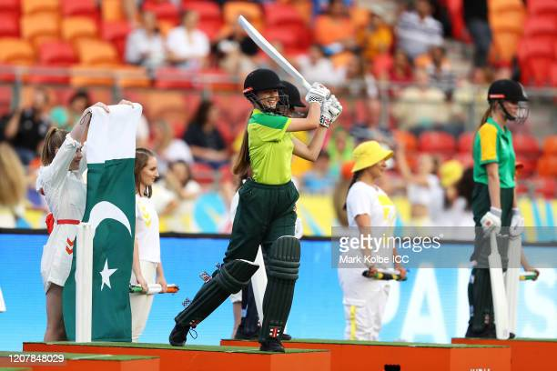 The opening ceremony is seen during the ICC Women's T20 Cricket World Cup match between Australia and India at Sydney Showground Stadium on February...
