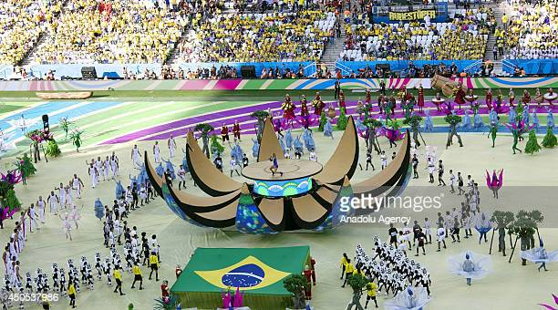 The opening ceremony of 2014 FIFA World Cup Brazil begins in Sao Paulo Brazil on June 12 2014 Claudia Leitte performs prior to the Group A match...