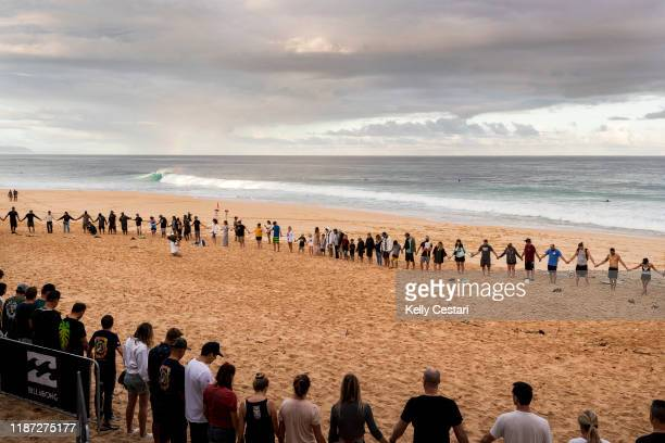 The opening ceremony of the 2019 Billabong Pipe Masters taking place at Pipeline in the early morning on December 8 2019 in Oahu United States