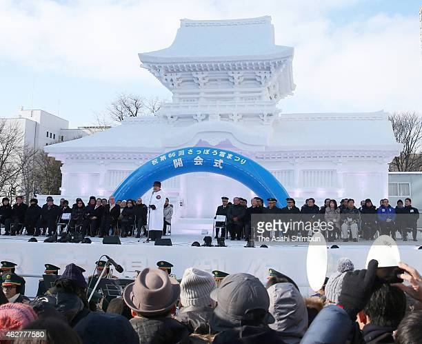 The Opening Ceremony of the 66th Sapporo Snow Festival is held in front of the snow statue of Chumon gate of Kasuga Taisha Shrine at Odori Park on...