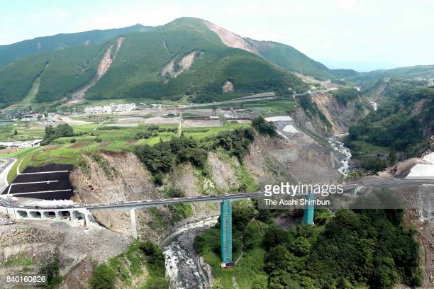 The opening ceremony of the Choyoohashi bridge route is held on August 27 2017 in Minamiaso Kumamoto Japan Quakedamaged bridges were repaired and...