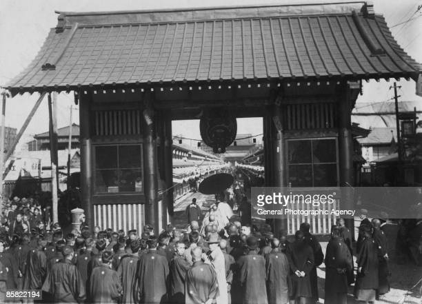 The opening ceremony of the new Kaminarimon gate in Asakusa Tokyo circa 1950 The gate leads to the Sensoji Buddist temple