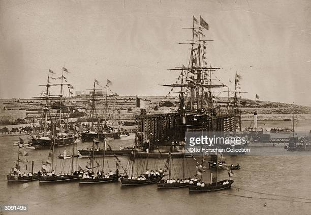 The opening ceremony of the Suez Canal at Port Said in Egypt. The city of Port Said was established on the Mediterranean coast in 1859, when...