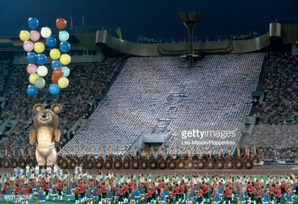 The opening ceremony of the Summer Olympic Games featuring Mishka the Olympic mascot in Moscow on 19th July 1980