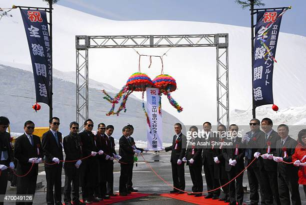 The opening ceremony of the Tateyama Kurobe Apline Route is held on April 16 2015 in Tateyama Toyama Japan More than 1 million people visited in 2010...