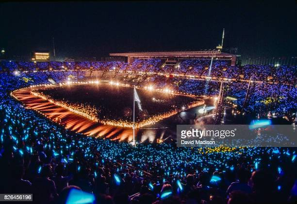 The Opening Ceremony takes place in the Montjuic Olympic Stadium during the XXV Olympiad held in Barcelona Spain on July 25 1992