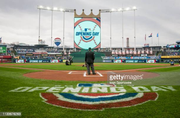 The Opening Day logo displayed on the field prior to the home opener game between the Kansas City Royals and the Chicago White Sox on Thursday March...