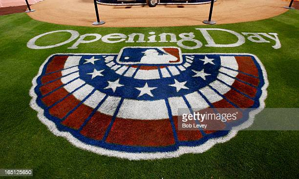 The Opening day logo is seen on the field at Minute Maid Park before the Texas Rangers play the Houston Astros on March 31 2013 in Houston Texas