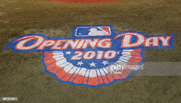 The Opening Day logo of second base is seen just prior to the start of the home opener game between the Tampa Bay Rays and the Baltimore Orioles at...
