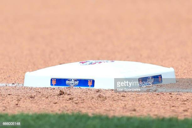 The Opening Day logo on third base during the Opening Day Major League Baseball game between the New York Mets and the Atlanta Braves on April 3 at...