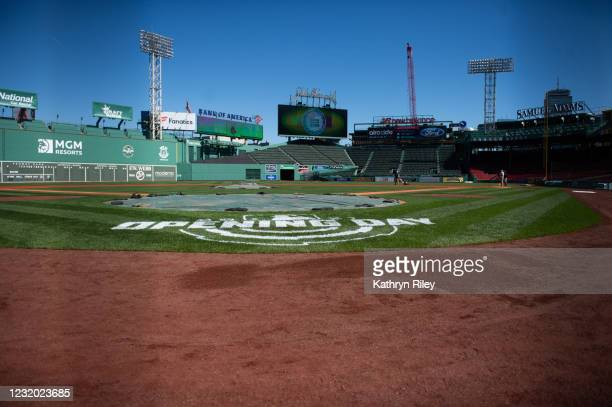 The Opening Day stencil is seen behind home plate during a media availability at Fenway Park on March 30, 2021 in Boston, Massachusetts.
