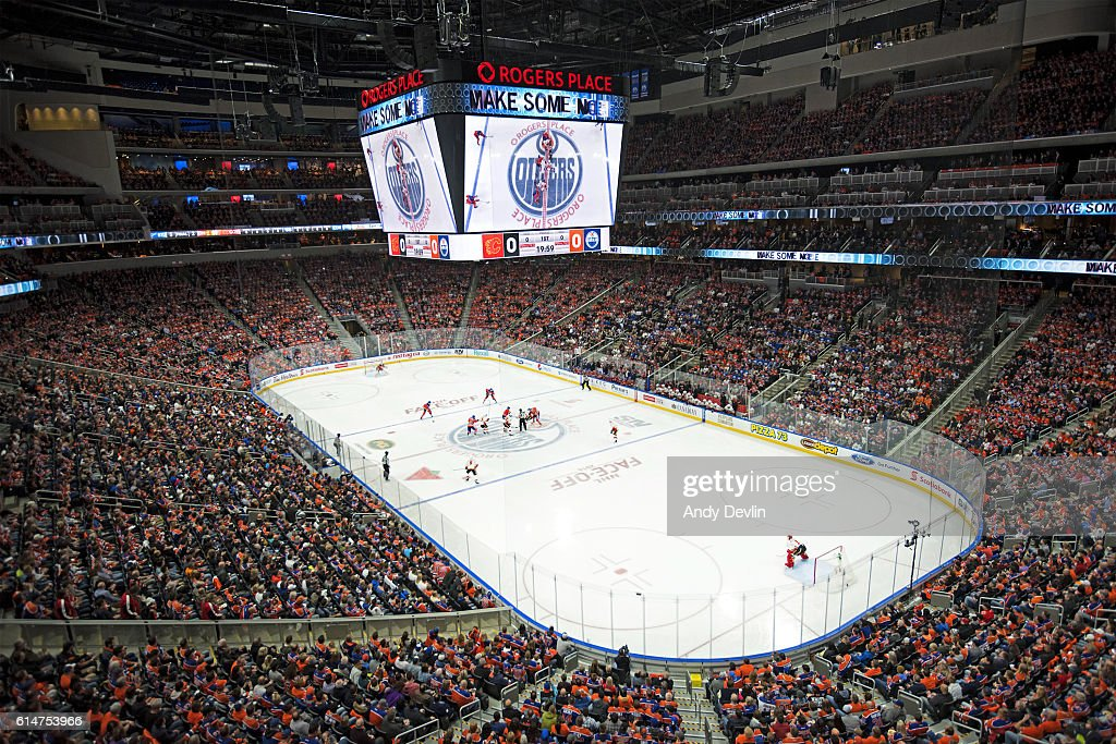 The opening face off to the season opener between the Edmonton Oilers and the Calgary Flames on October 12, 2016 at Rogers Place in Edmonton, Alberta, Canada